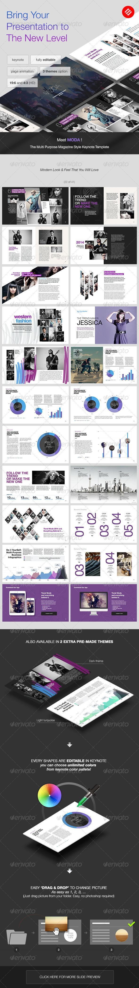 GraphicRiver Moda Magazine Style Keynote Template 7442665