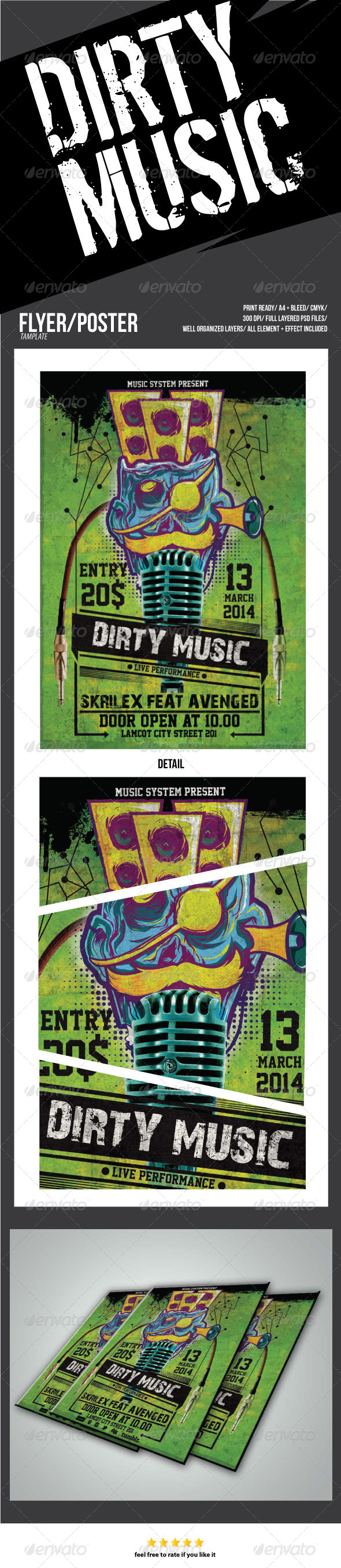 DIRTY MUSIC - Flyers Print Templates