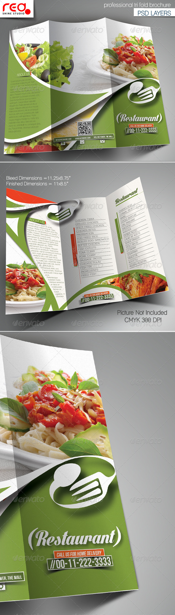 GraphicRiver Restaurant Trifold Brochure Template 7445331