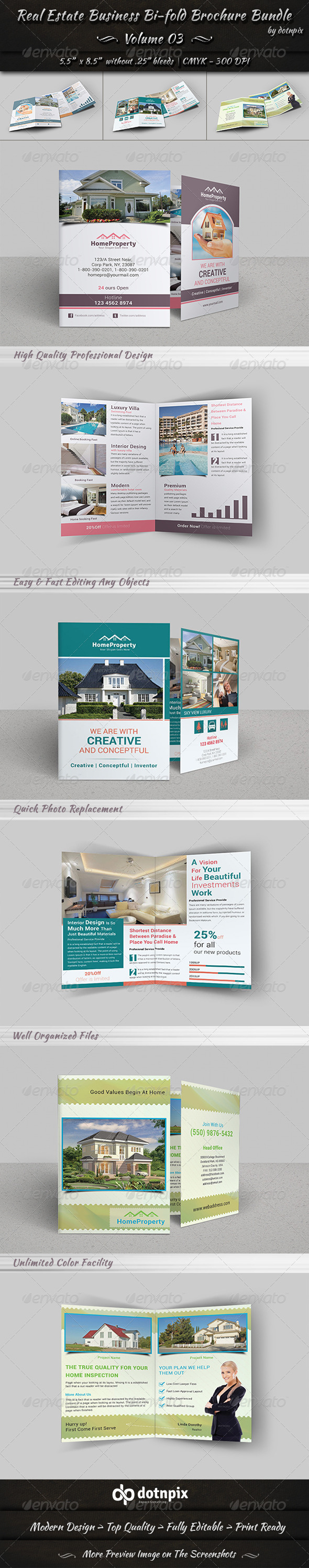 GraphicRiver Real Estate Bi-Fold Brochure Bundle Volume 3 7446004