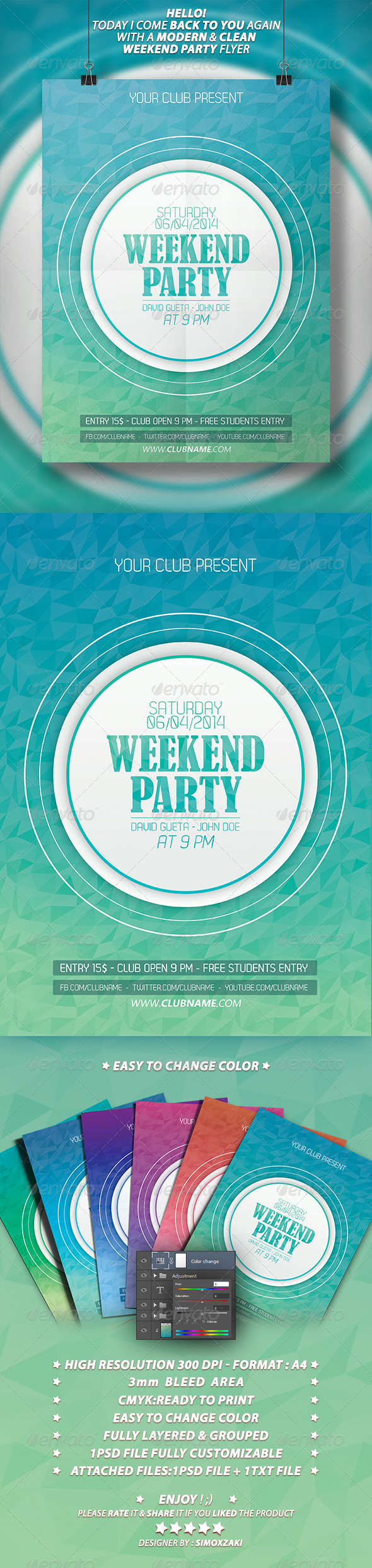 GraphicRiver Weekend Party Flyer Template 7386294