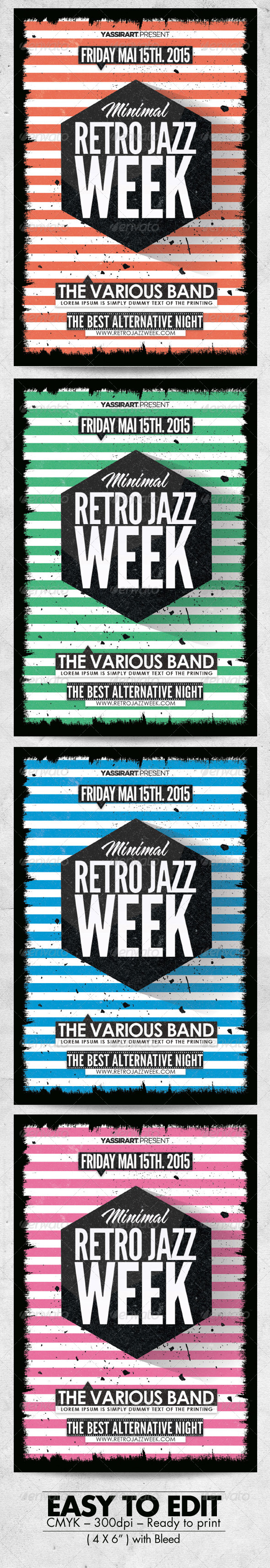 GraphicRiver Minimal Retro Jazz Week Flyer 7447512