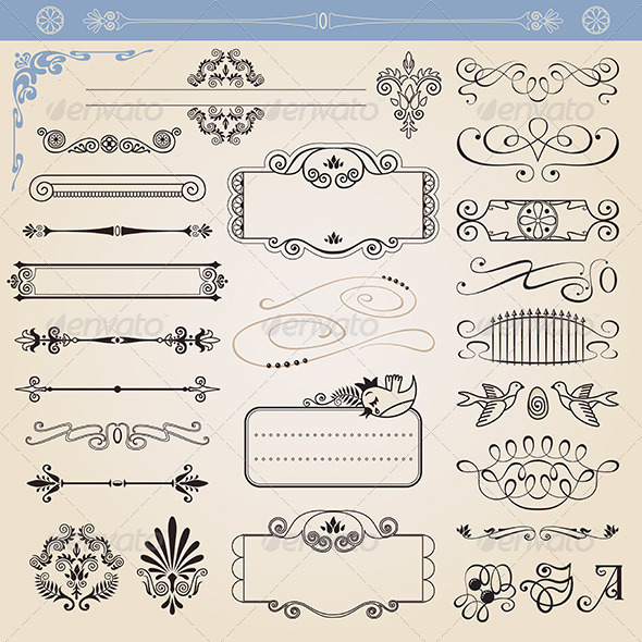 GraphicRiver Calligraphic Decoration Elements Set 7448007