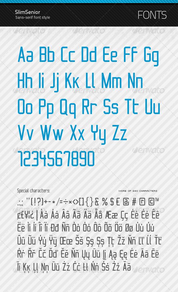GraphicRiver SlimSenior True Type Font 154736