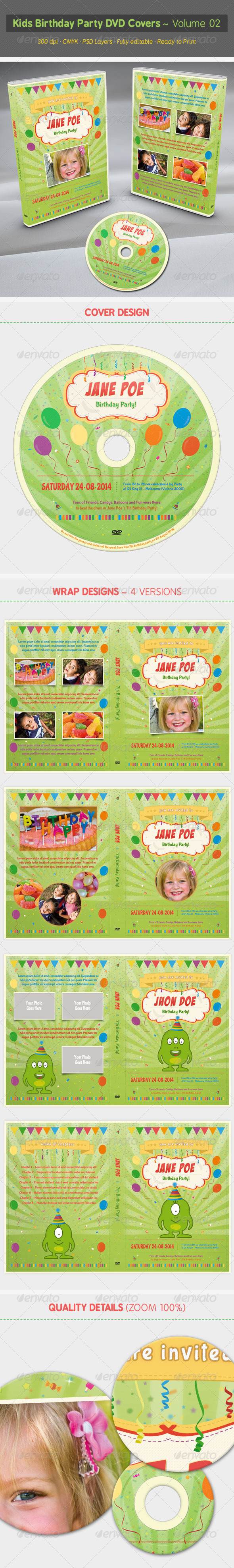 Kids Birthday Party DVD Covers - Volume 02 - CD & DVD Artwork Print Templates