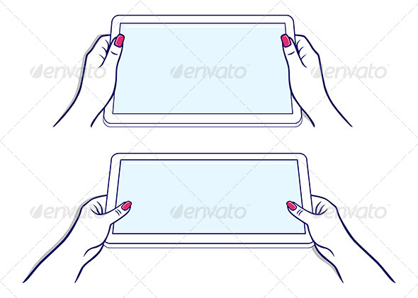 GraphicRiver Woman s Hands Keeps Tablet 7448668