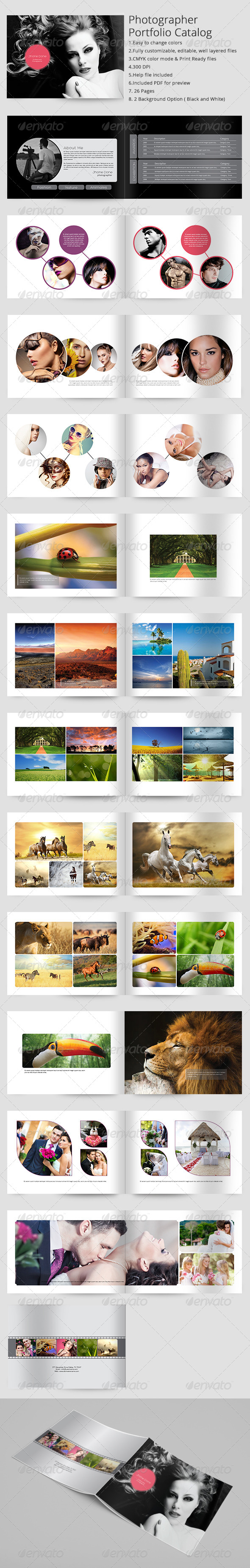 Photographer Portfolio Catalog Indesign Template - Portfolio Brochures