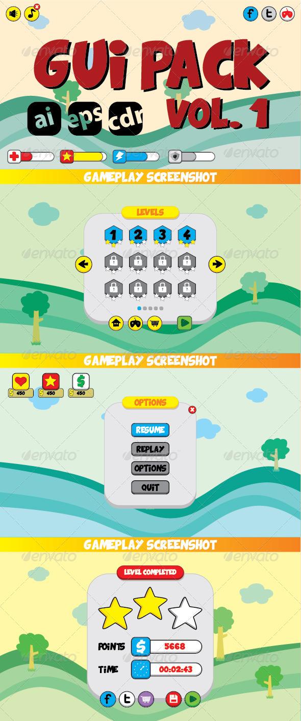GraphicRiver Cartoon Games GUI Pack Vol 1 7448363