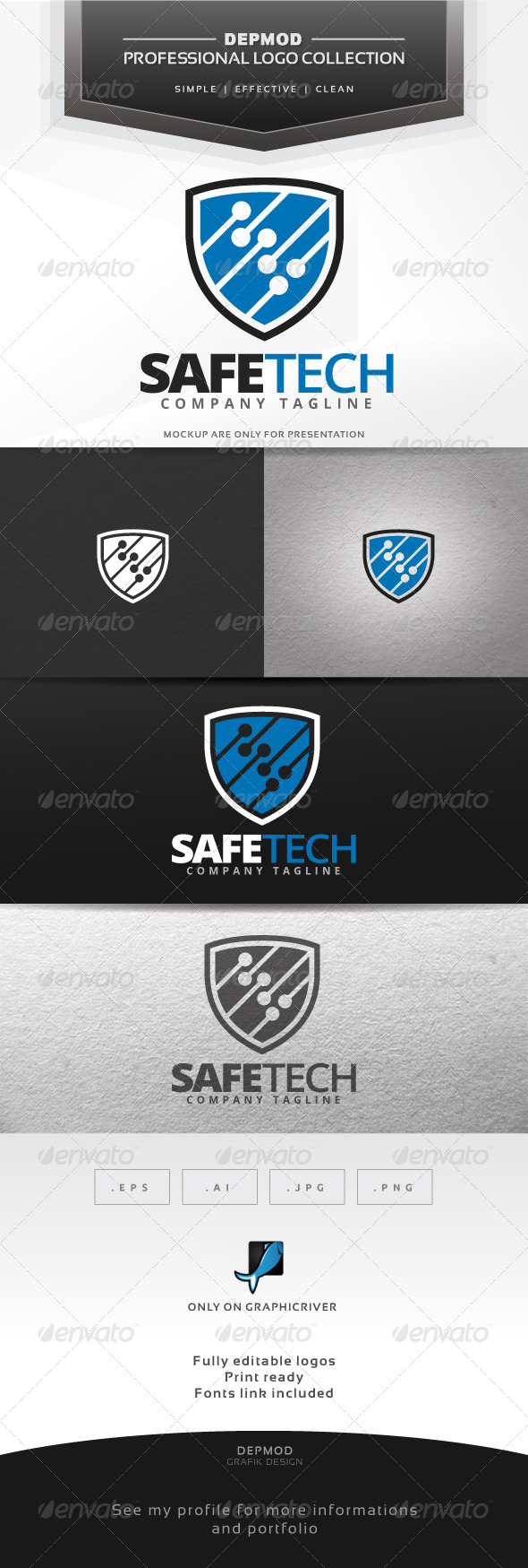 GraphicRiver Safe Tech Logo 7448949