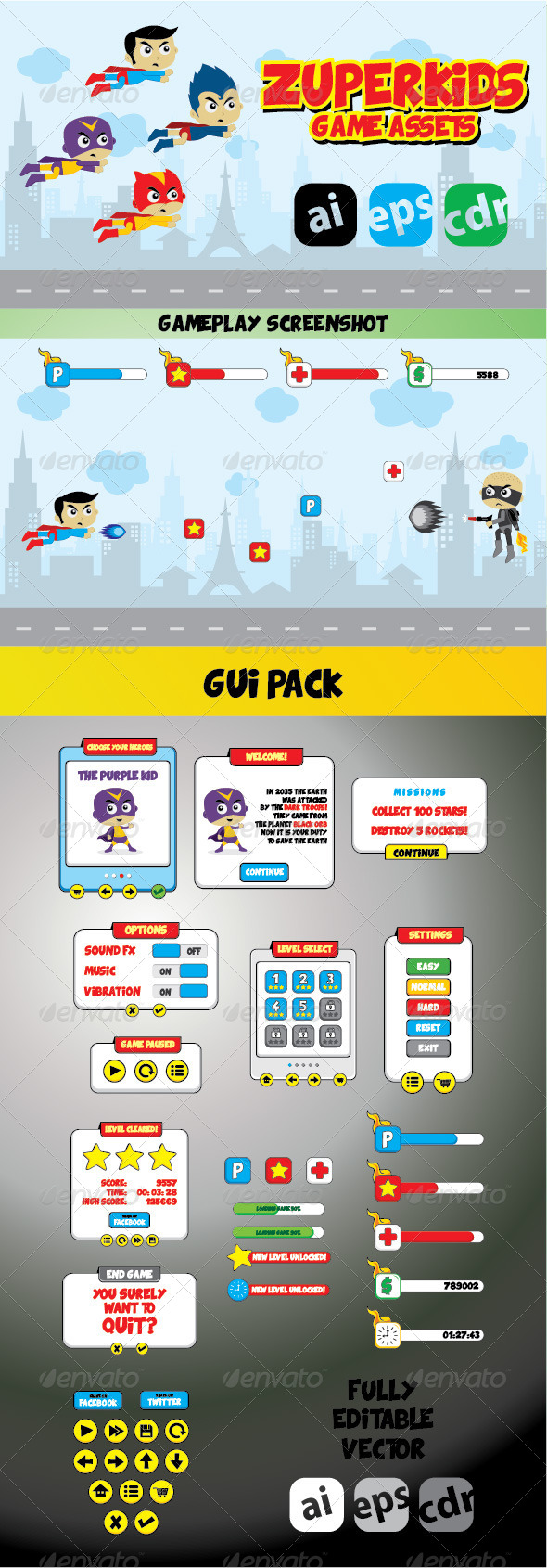 GraphicRiver Zuperkids Game Assets & GUI Pack 7441659