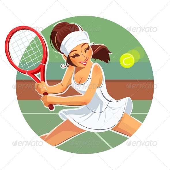 GraphicRiver Girl Play Tennis 7448968