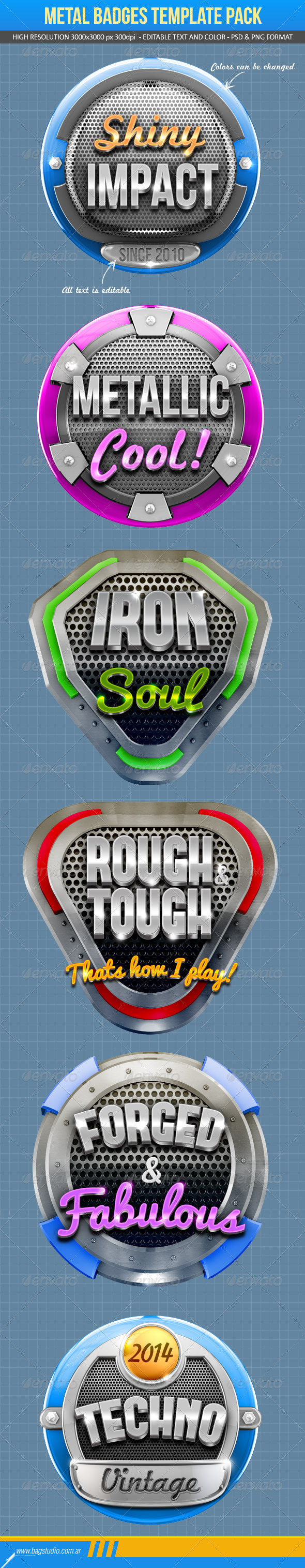 GraphicRiver Metal Badges Template Pack 7449023