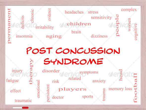 Post Concussion Syndrome Word Cloud Concept on a Whiteboard