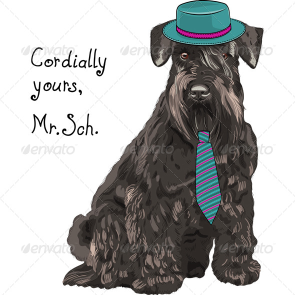 GraphicRiver Cartoon Hipster Dog Schnauzer 7449319