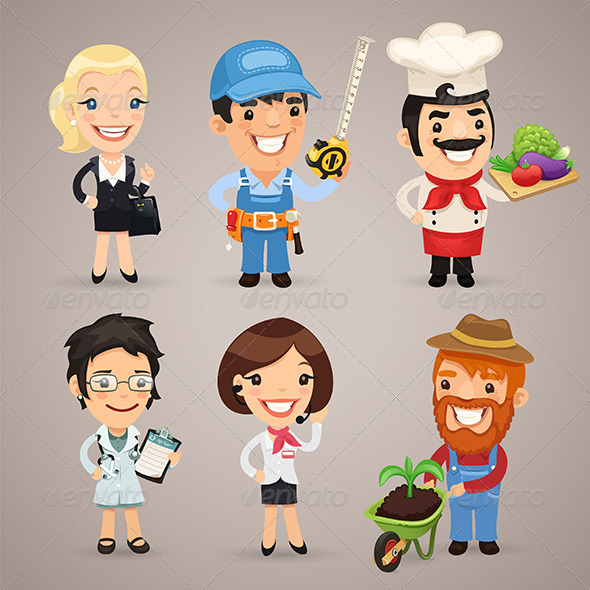 Professions Cartoon Characters Set 1 3 Graphicriver