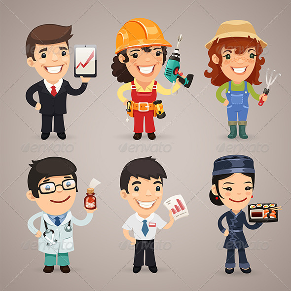GraphicRiver Professions Cartoon Characters Set1.1 7414495