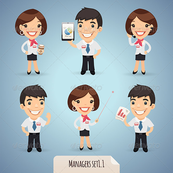 GraphicRiver Managers Cartoon Characters Set1.1 7414478