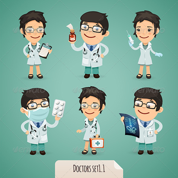 GraphicRiver Doctors Cartoon Characters Set1.1 7414101