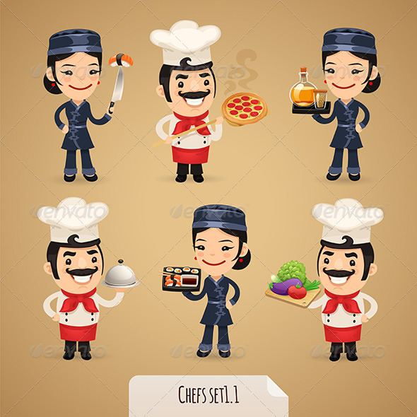 GraphicRiver Chefs Cartoon Characters Set 1.1 7413998