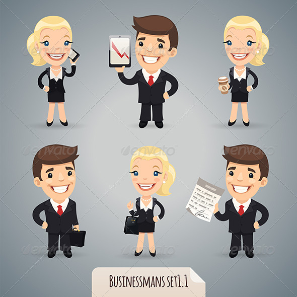 GraphicRiver Businessmen Cartoon Characters Set 7413988