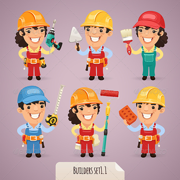 GraphicRiver Builders Cartoon Characters Set 1.1 7413918