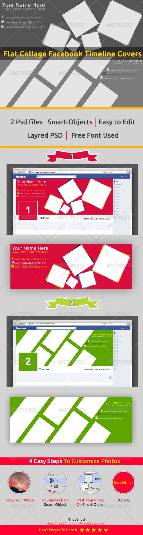GraphicRiver Flat Collage Fb Timeline Covers 7450253