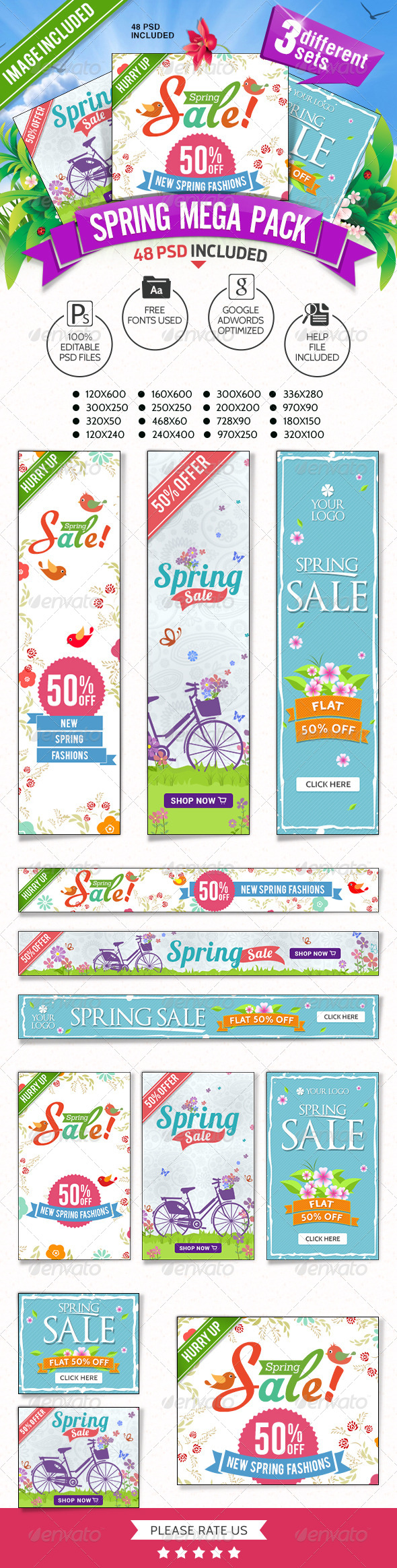 GraphicRiver Spring Sale Mega Pack 3 Banner Sets 7450266