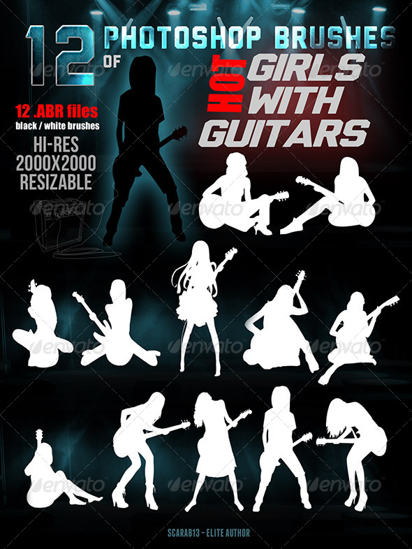 GraphicRiver 12 Photoshop Brushes of Hot Girls With Guitars 7437319