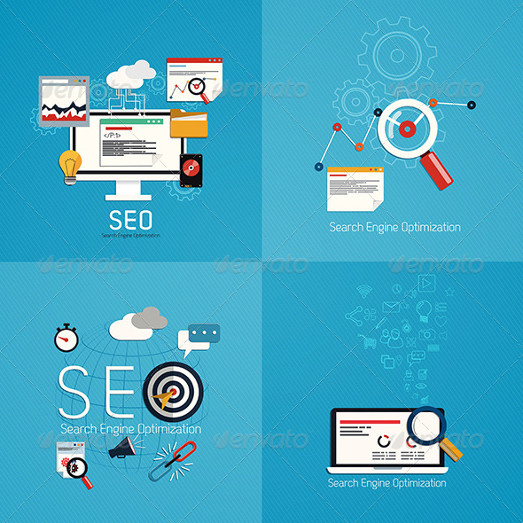 GraphicRiver Flat Concept of SEO Process 7446079