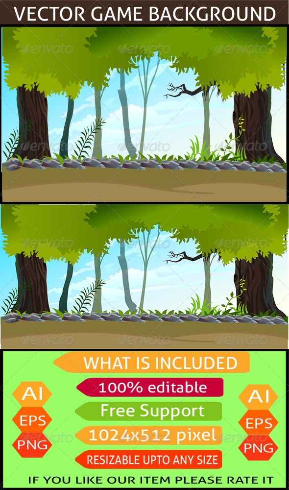 GraphicRiver Forest Game Background 7450702