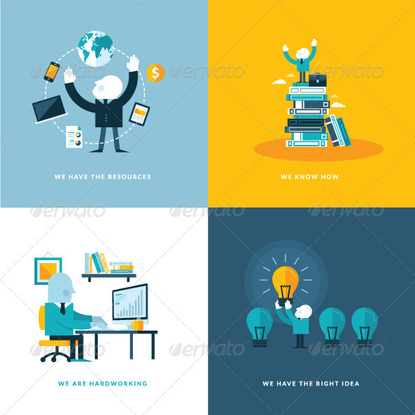 GraphicRiver Flat Design Concept Icons for Business 7450727