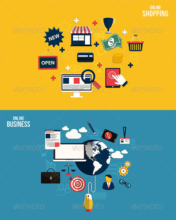 GraphicRiver Icons for Online Business and Online Shopping 7450698