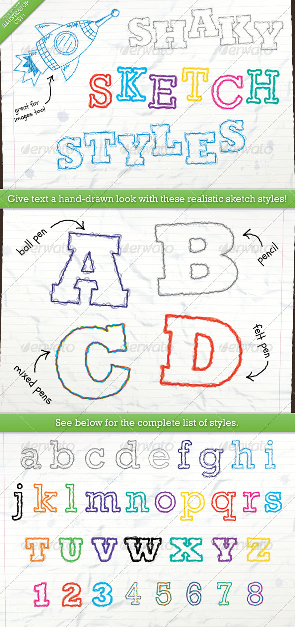 GraphicRiver Shaky Sketch Text Styles 7449561