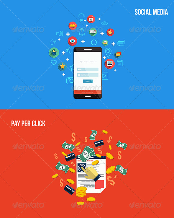GraphicRiver Icons for Pay Per Click and Social Media 7451055