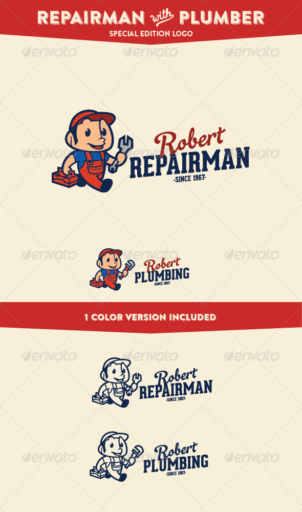 GraphicRiver Repairman & Plumber Service & Maintenance Logo 7451111
