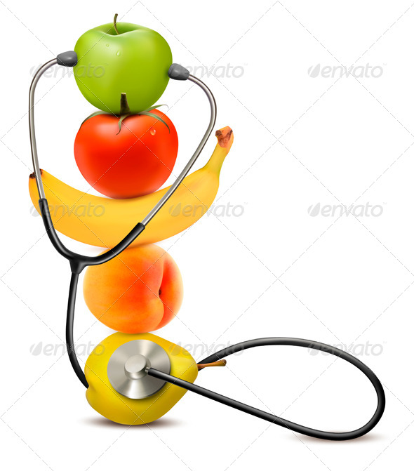 GraphicRiver Fruit with a Stethoscope Healthy Diet Concept 7451814