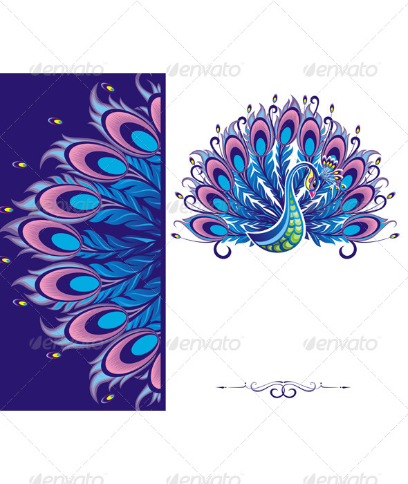 GraphicRiver Peacock Card 7455491