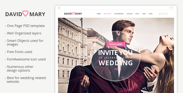 ThemeForest David & Mary Event & Wedding Template 7441572