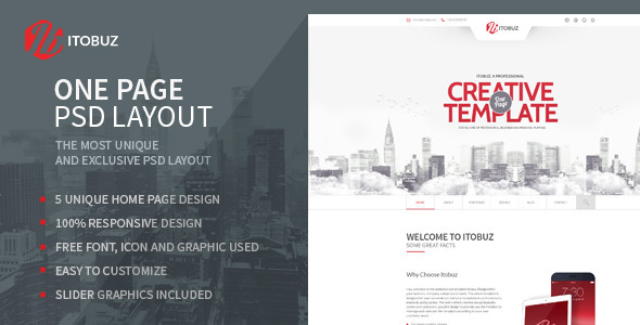ThemeForest Itobuz One Page PSD Template 7361255