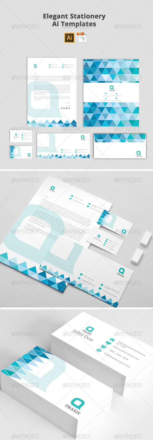 GraphicRiver Elegant Stationery Ai Templates 7457424