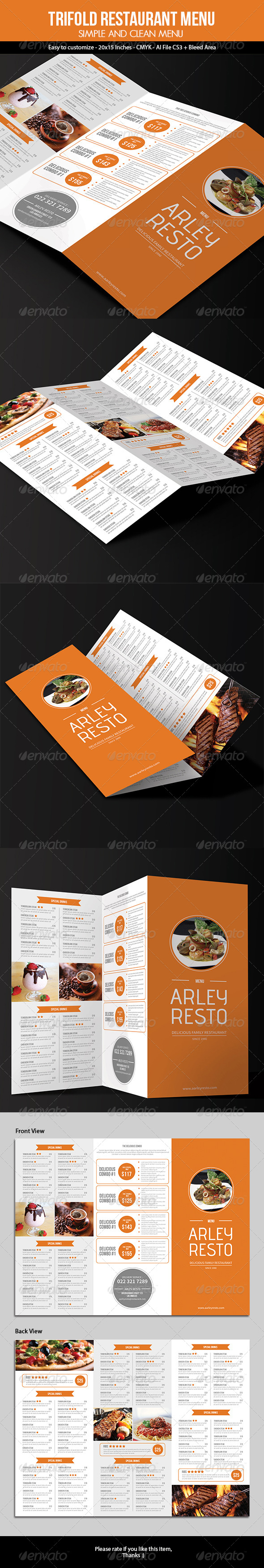 GraphicRiver Trifold Simple Restaurant Menu 7457969