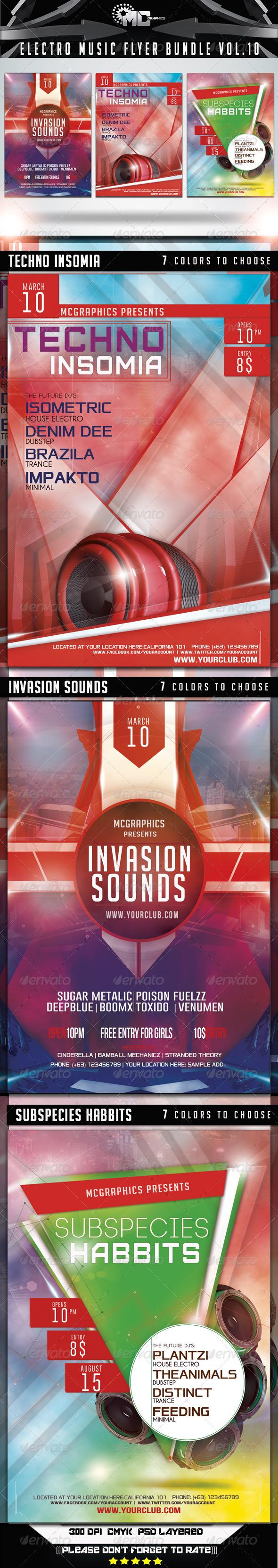 GraphicRiver Electro Music Flyer Bundle Vol 10 7458027