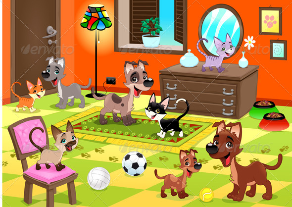GraphicRiver Family of Cats and Dogs in the House 7458527