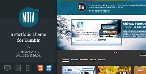 MUZA - Categorized Portfolio Theme for Tumblr