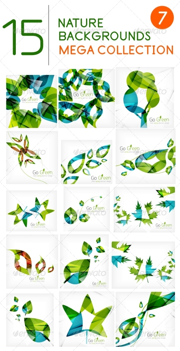 GraphicRiver Abstract Leaf Backgrounds Mega Collection 7458831