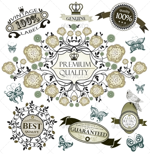 GraphicRiver Vintage vector set retro design elements 7458836