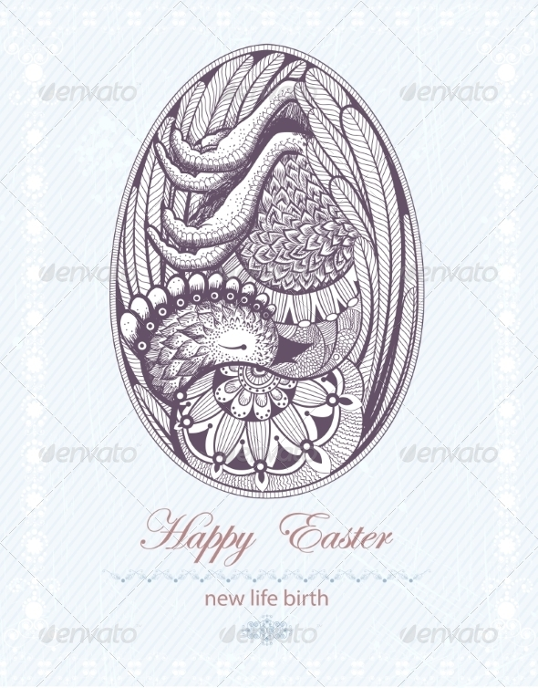 GraphicRiver Easter Egg with Chicken Embryo New Life Birth 7458873