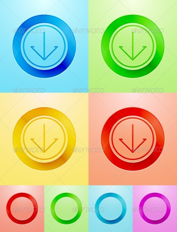 GraphicRiver Vector flat circle button design 7458905