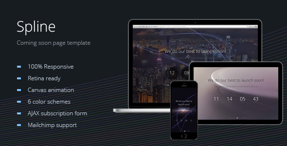 Spline — Animated Coming Soon Page Template - Under Construction Specialty Pages