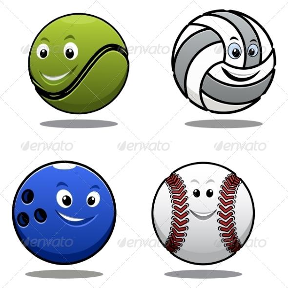 GraphicRiver Set of Four Cartoon Sports Balls 7459532